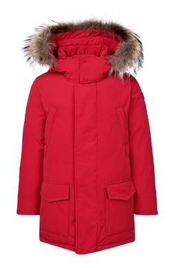Прямая красная куртка с мехом Il Gufo 1205161915