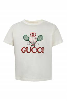 Белая футболка с вышивкой Gucci Kids 1256161934