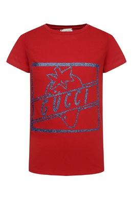 Красная футболка с голубым рисунком Gucci Kids 1256161926