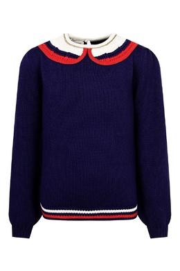 Синий вязаный свитер с ажурной отделкой Gucci Kids 1256161956