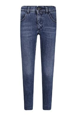 Прямые синие джинсы с вышивкой Fendi Kids 690161949