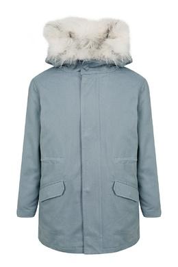 Прямая голубая куртка Yves Salomon Kids 1917161885