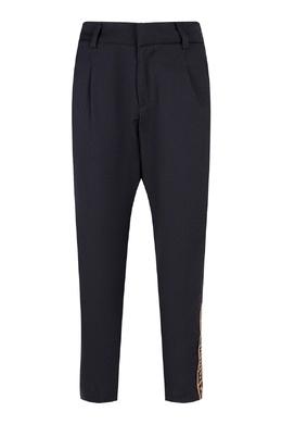Серые брюки с коричневыми лампасами Fendi Kids 690161900