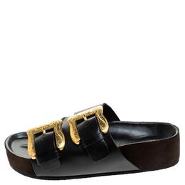 Celine Black Leather Western Gold Buckle Sandal Flats Size 39 239840