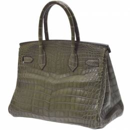 Hermes Green Croc Leather Palladium Hardware Birkin 30 Bag 239115