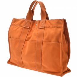 Hermes Orange Fabric Deauville MM Tote 239129