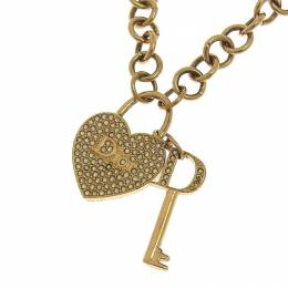 Dior Rhinestone Gold Tone Metal Heart Pendant Necklace 239697
