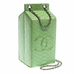 Chanel Light Green Python Lait de Coco Minaudiere Box 240673