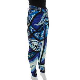 Emilio Pucci Multicolor Printed Jersey Draped Pants S 234715