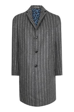 Серое шерстяное пальто в полоску Paul Smith 1924162863