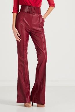 Бордовые брюки из эко-кожи Elisabetta Franchi 1732162134