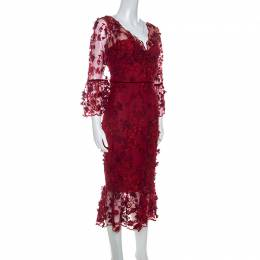 Marchesa Notte Burgundy 3D Floral Lace Midi Dress M 238505