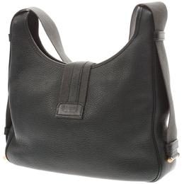 Hermes Green Leather Sako Toile Shoulder Bag 239582