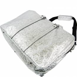 MCM Metallic Silver Leather Duffle Bag 240958