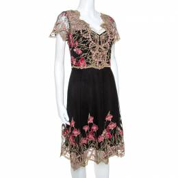 Marchesa Notte Black and Gold Floral Lace Applique Dress M 238043