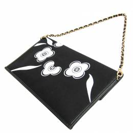 Chanel Black Nylon Camellia Shoulder Bag 241587