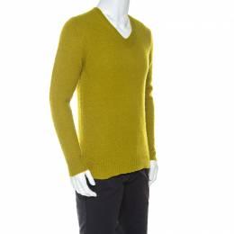 Burberry Light Green Cashmere V-Neck Sweater S