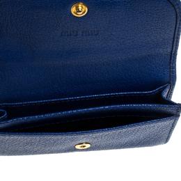 Miu Miu Blue Leather Madras Card Case