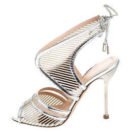 Nicholas Kirkwood Silver Cutout Patent Leather Tie Back Sandals Size 37 241783
