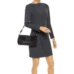 Givenchy Black Leather Logo Flap Shoulder Bag 237493
