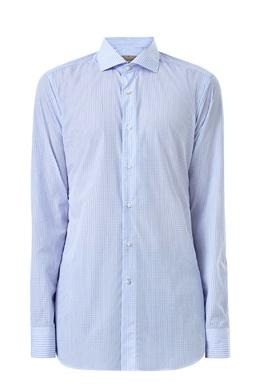 Голубая рубашка в мелкую клетку Canali 1793162378