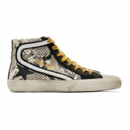 Golden Goose Grey and Black Snake High-Top Sneakers 192264M23600602GB