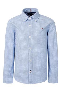 Голубая рубашка с мелким узором Tommy Hilfiger Kids 2646163923