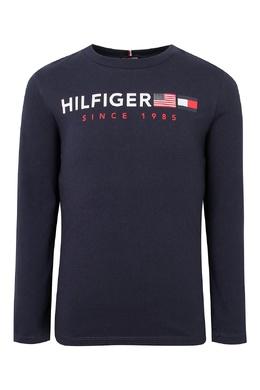 Темно-синий лонгслив с красно-белыми надписями Tommy Hilfiger Kids 2646164162