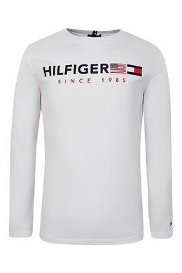 Белый лонгслив с красно-черным декором Tommy Hilfiger Kids 2646164163
