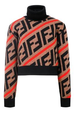 Коричневый свитер с логотипами Fendi Kids 690163888