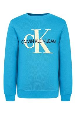 Голубой вязаный джемпер с надписью Calvin Klein Kids 2815164061