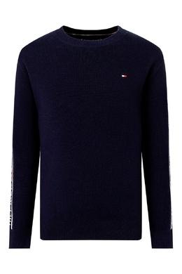 Темно-синий свитер с узорами на рукавах Tommy Hilfiger Kids 2646164111