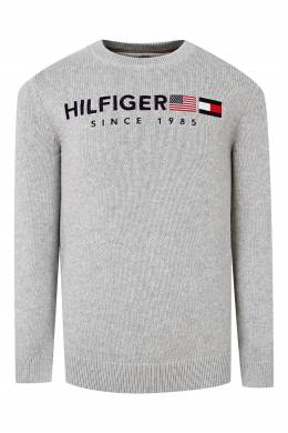 Серый вязаный свитер с надписью Tommy Hilfiger Kids 2646164124
