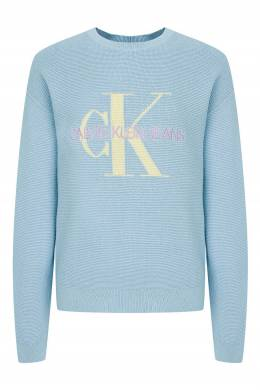 Голубой вязаный свитер с вышивкой Calvin Klein Kids 2815164129