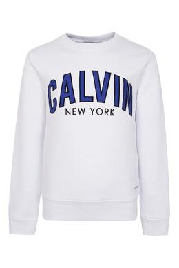 Белый свитшот с надписями на груди Calvin Klein Kids 2815164054