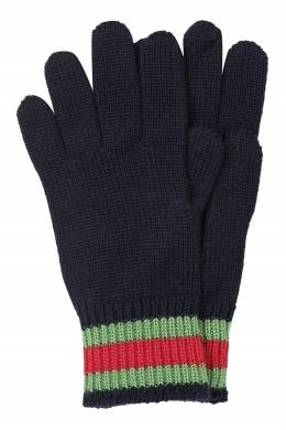 Черные перчатки с цветной отделкой Gucci Kids 1256164098