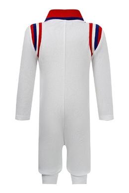 Белый комбинезон с контрастным воротником и узором Gucci Kids 1256164165
