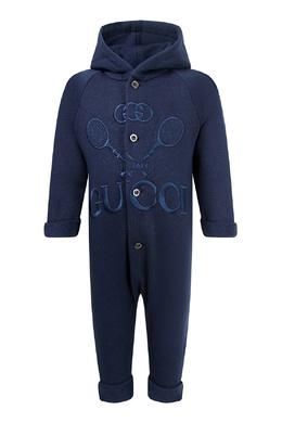 Темно-синий комбинезон с вышивкой Gucci Kids 1256164167