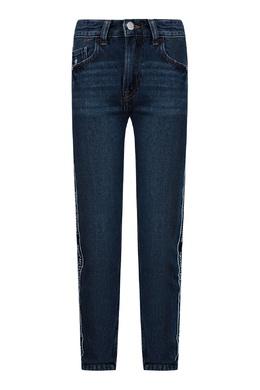 Синие джинсы с надписями на лампасах Calvin Klein Kids 2815164107