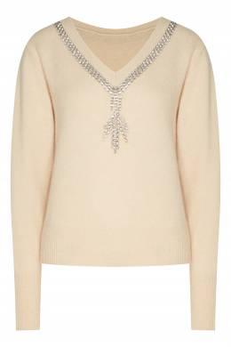 Бежевый пуловер с кристальным декором Sandro 914164599
