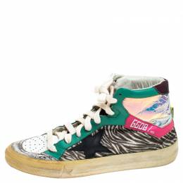 Golden Goose Multicolor Leather And Zebra Print Pony Hair High Top Sneakers Size 37 243510
