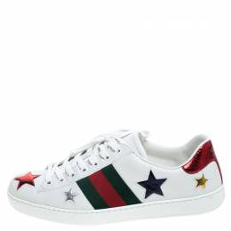 Gucci White Leather Ace Metallic Stars Low Top Sneakers Size 41
