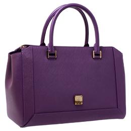 MCM Purple Textured Leather Tote 240391