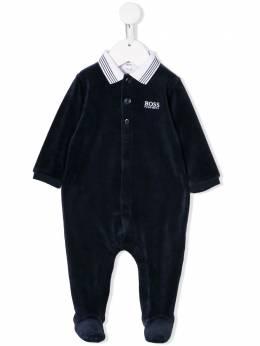 Boss Kids пижамный комбинезон с воротником в полоску J97144849