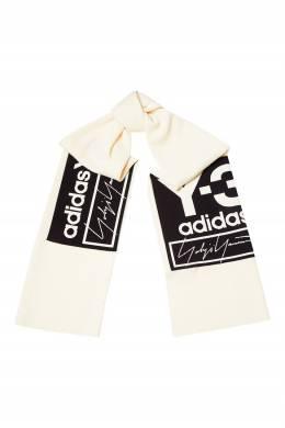 Бежевый шарф с крупным логотипом Y-3 1044163959