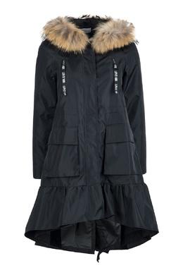 Черное пальто с оборкой и мехом Red Valentino 986165398