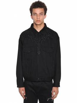 Embroidered Wings Cotton Denim Jacket Marcelo Burlon County Of Milan 71ILF9028-MTAxMA2