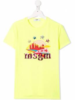 Msgm Kids футболка с графичным принтом и логотипом 020665