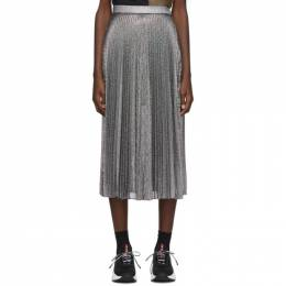 Christopher Kane Silver Lame Mesh Pleated Skirt 192170F09200303GB