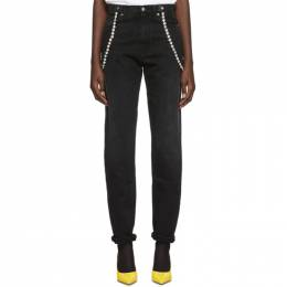 Christopher Kane Black High-Waisted Crystal Jeans 192170F06900102GB